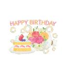 誕生日&お祝い*大人上品なお花スタンプ(個別スタンプ:3)