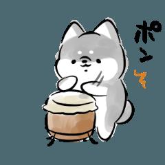[LINEスタンプ] 踊る犬<黒>