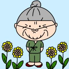 [LINEスタンプ] パッツン髪のおばあちゃん【夏】