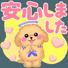 [LINEスタンプ] 夏のかわいいトイプードル❤️でか文字