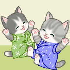 [LINEスタンプ] 甚平さん猫ちゃんズ