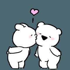 [LINEスタンプ] すこぶる動くちびウサギ&クマ sweet love