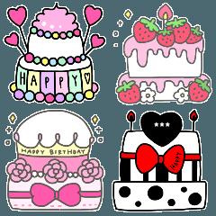 [LINEスタンプ] enacocoのお誕生日ケーキ