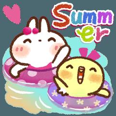 [LINEスタンプ] 毎日便利【夏】白うさぎさん時々インコ