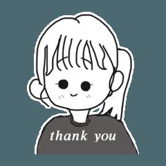 [LINEスタンプ] 英語で挨拶してくれるポニーテールの女の子