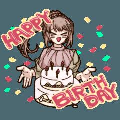 [LINEスタンプ] 誕生日を祝うポニテ