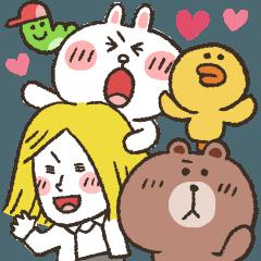 [LINEスタンプ] 【かなぴ】BIGスタンプ★BROWN & FRIENDS