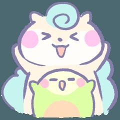 [LINEスタンプ] リスの松子とインコのミーバウの画像(メイン)