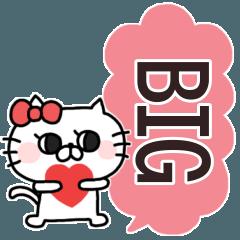 [LINEスタンプ] にゃんこりぼん◎BIG吹き出し #1
